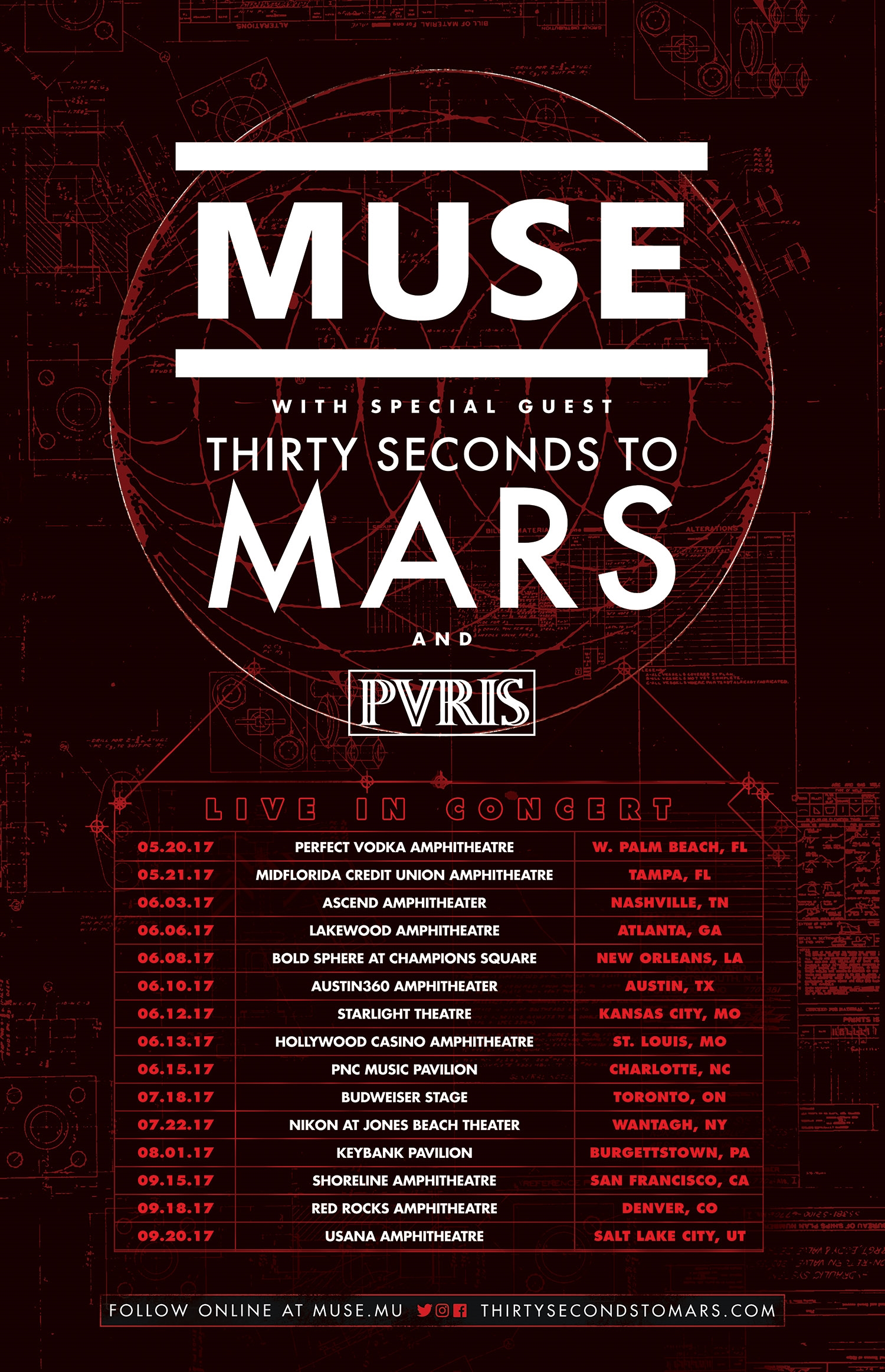 Tour Announcement Muse 30 Seconds To Mars Pvris Concert Crap